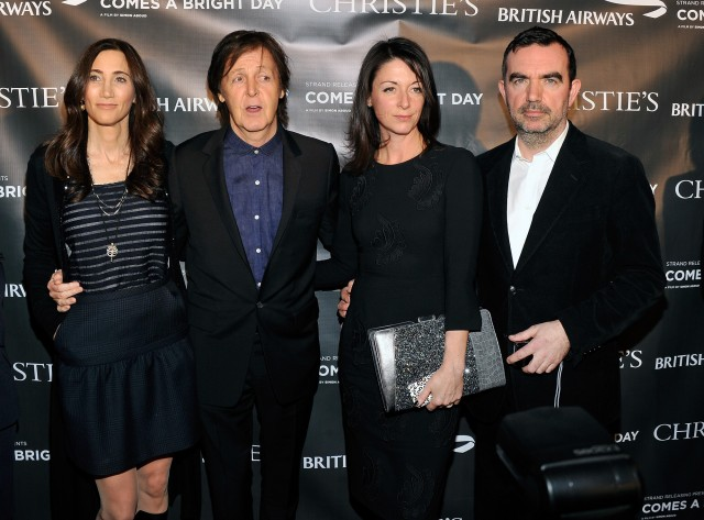 """NEW YORK, NY - NOVEMBER 13:  (L-R)  Nancy Shevell, singer/musician Sir Paul McCartney, Mary McCartney, and director Simon Aboud attend the """"Comes A Bright Day"""" premiere at The Bryant Park Hotel on November 13, 2012 in New York City.  (Photo by Stephen Lovekin/Getty Images)"""